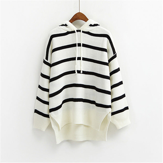 Women Hooded Striped Sweater