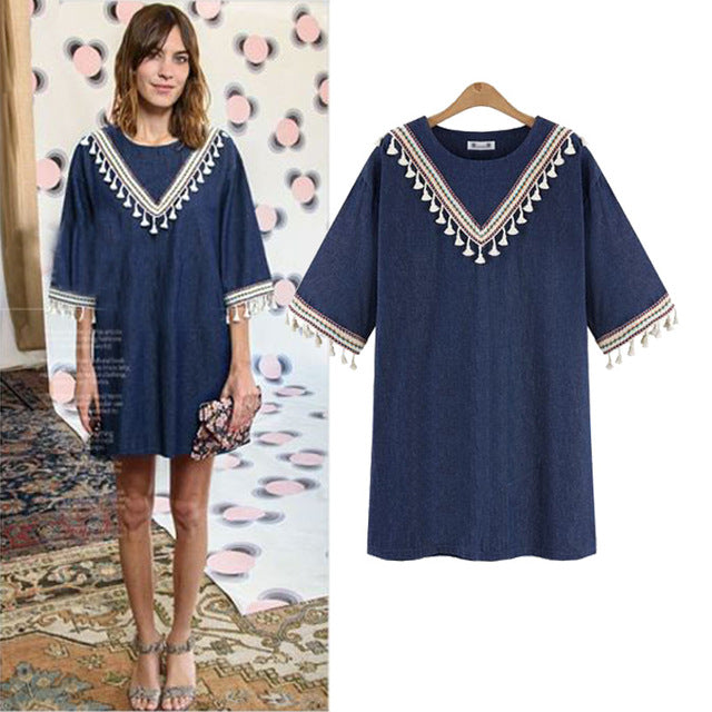 new national style tassel loose round collar  elegant cowboy dress