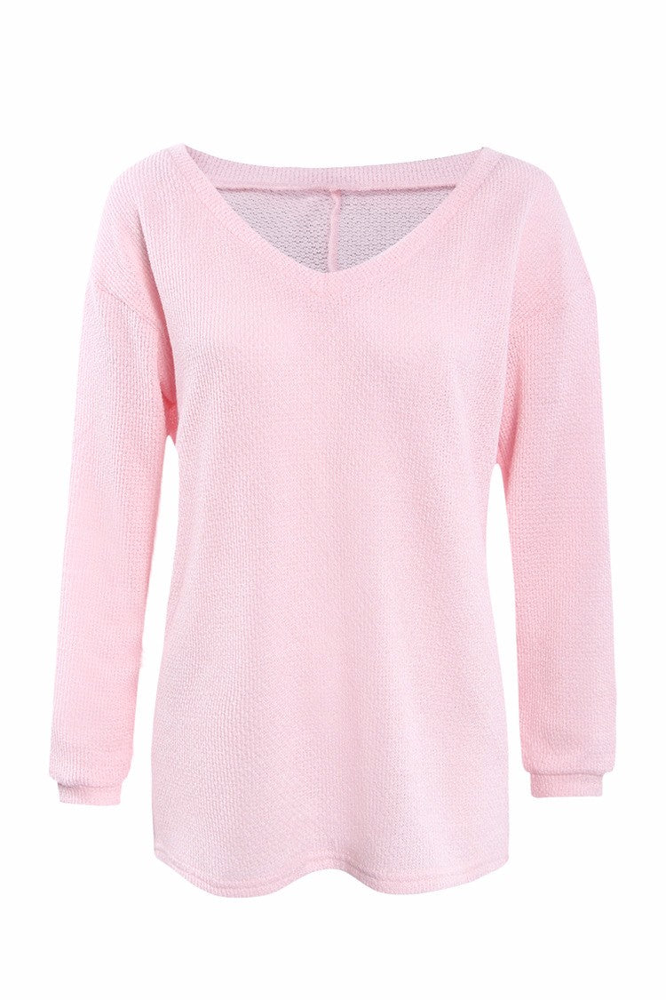 Women V-neck Autumn Long Sleeve Sweater