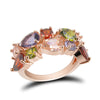 Women Colorful Flower Zircon Rings Wedding Ring Engagement