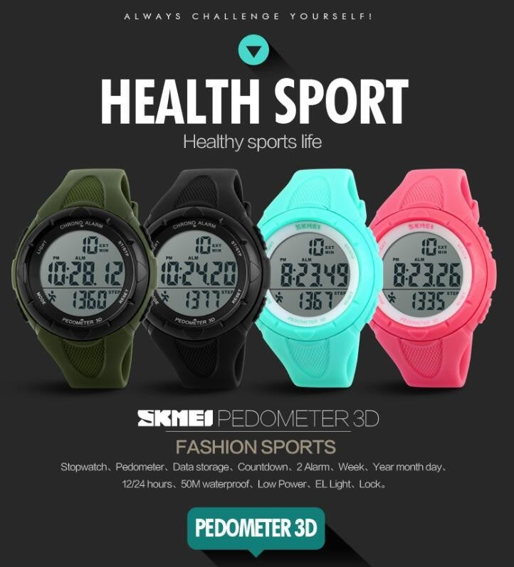 Pedometer Digital Fitness For Men Women Outdoor Wristwatches