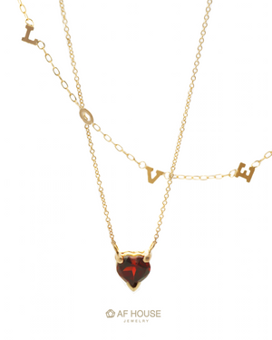 Garnet Heart Necklace