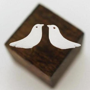Bird Stud Earrings-Silver