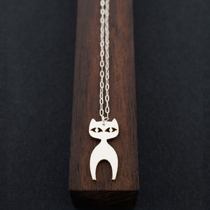 Standing Cat Necklace-Silver