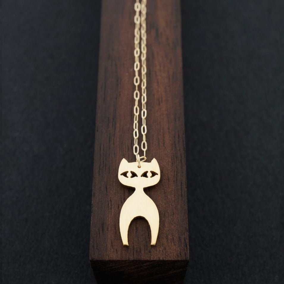 Standing Cat Necklace-AF HOUSE