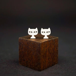 Cat Face Stud Earrings-Silver
