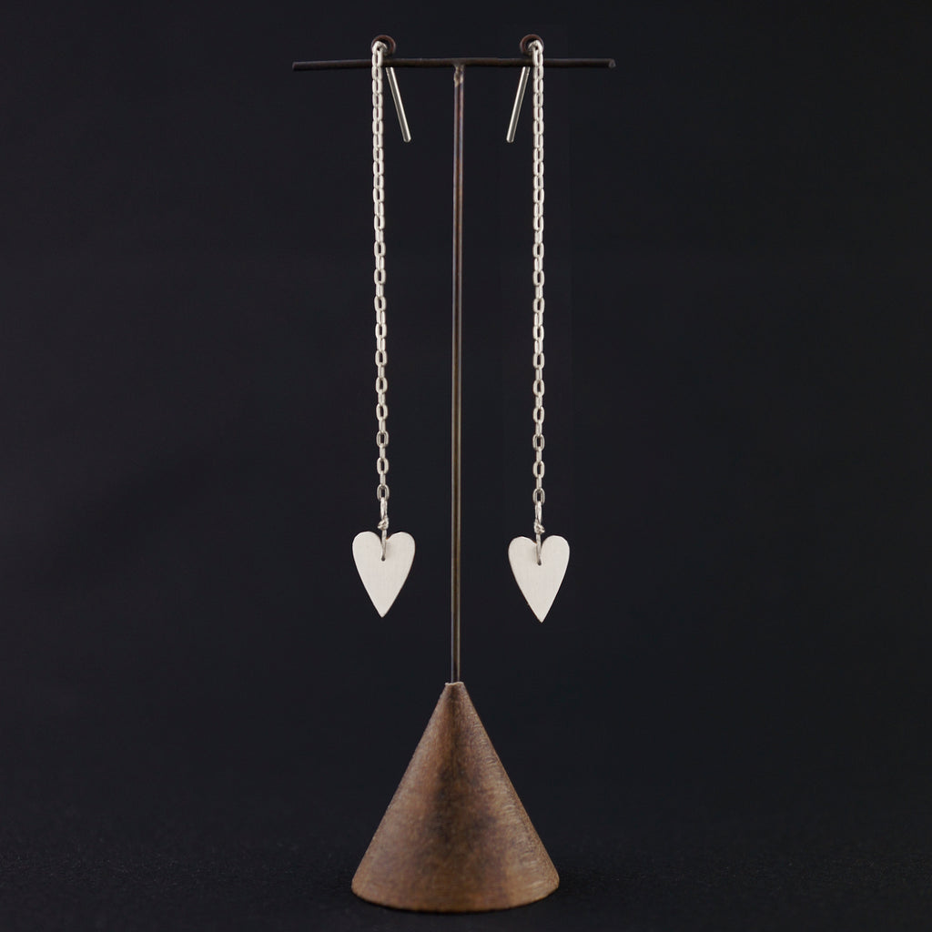 Skinny Heart Drop Chain Earrings-Silver