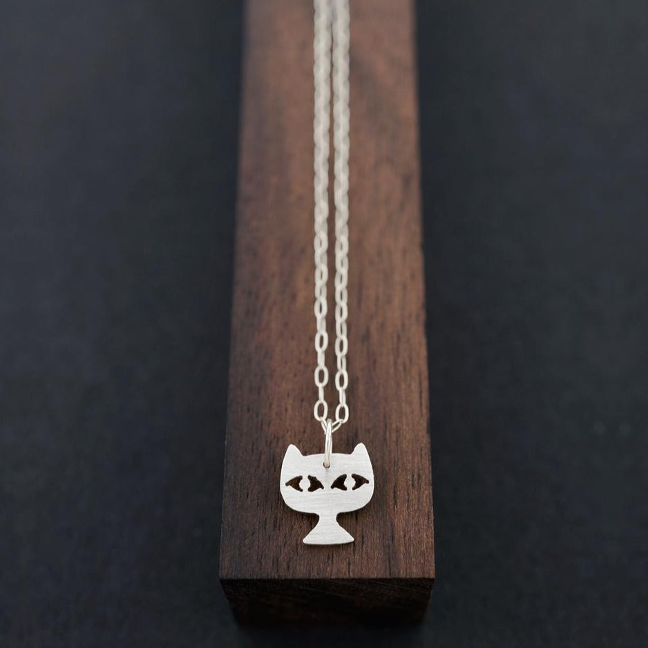 Cat Face Necklace-Silver