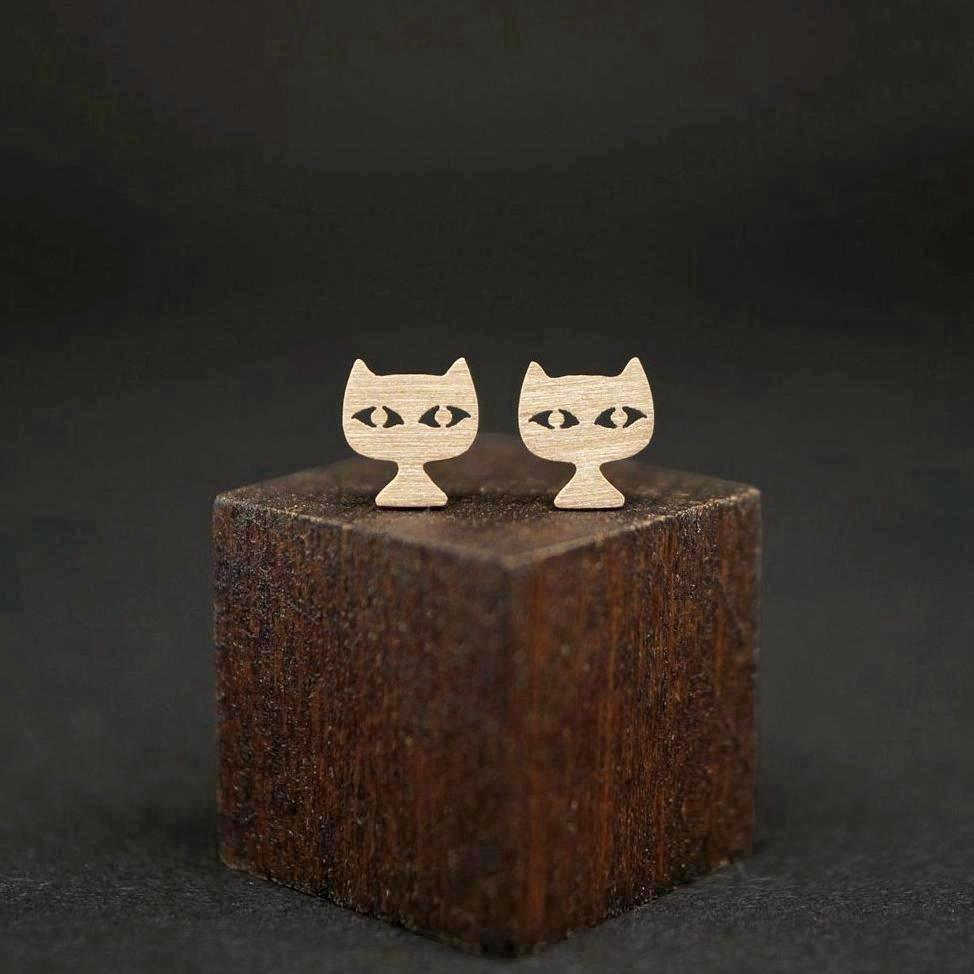 Cat Head Stud Earrings