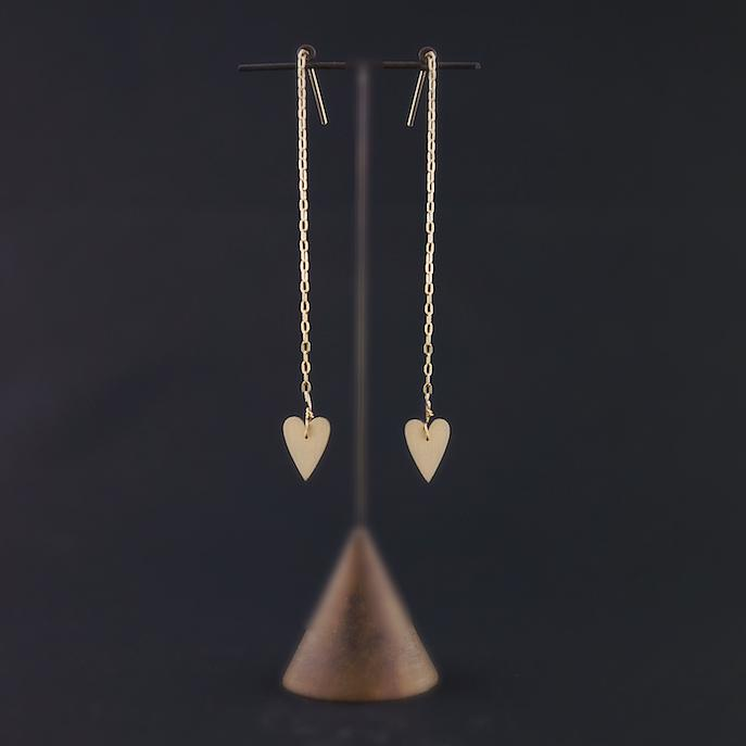 HEART DROP CHAIN EARRINGS-AF HOUSE