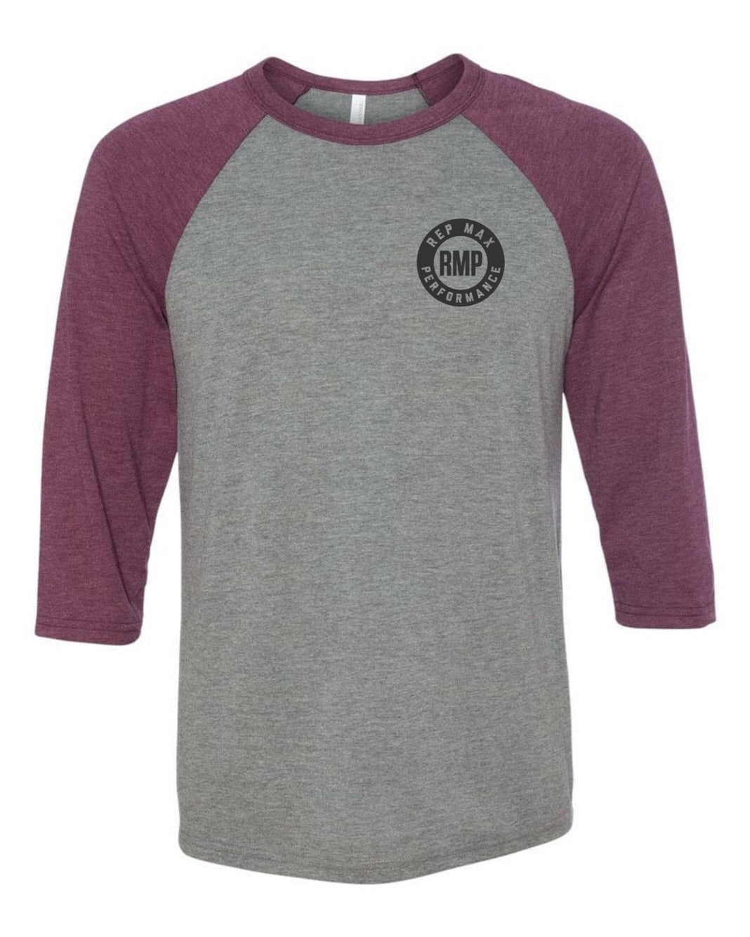 Weightlifter Baseball Tee (gray/maroon)