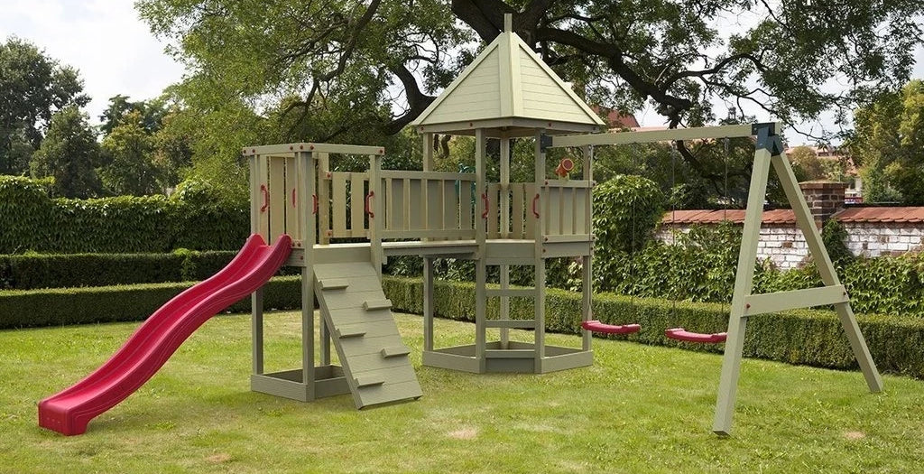 The Cheeky Monkey Wooden Slide and Swing Set