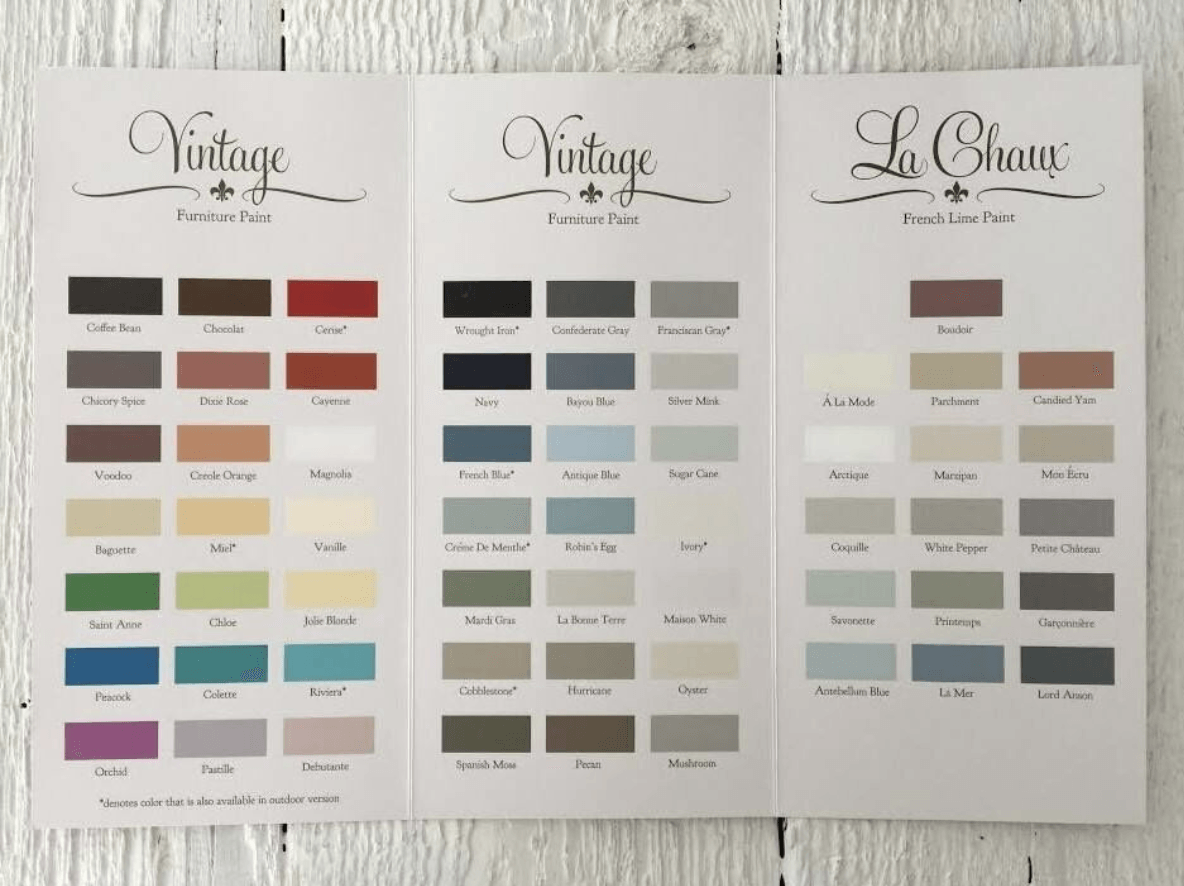 What color to paint furniture Chalk Vintage Furniture Paint Color Chart Maison Blanche Paint Company Thirty Eighth Street Vintage Furniture Paint Color Chart Maison Blanche Paint Company