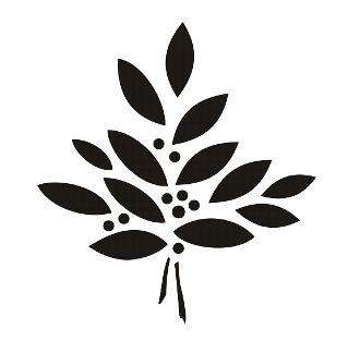 Vintage Laurel Sprig - furniture stencils. large leaf chalk paint stencil