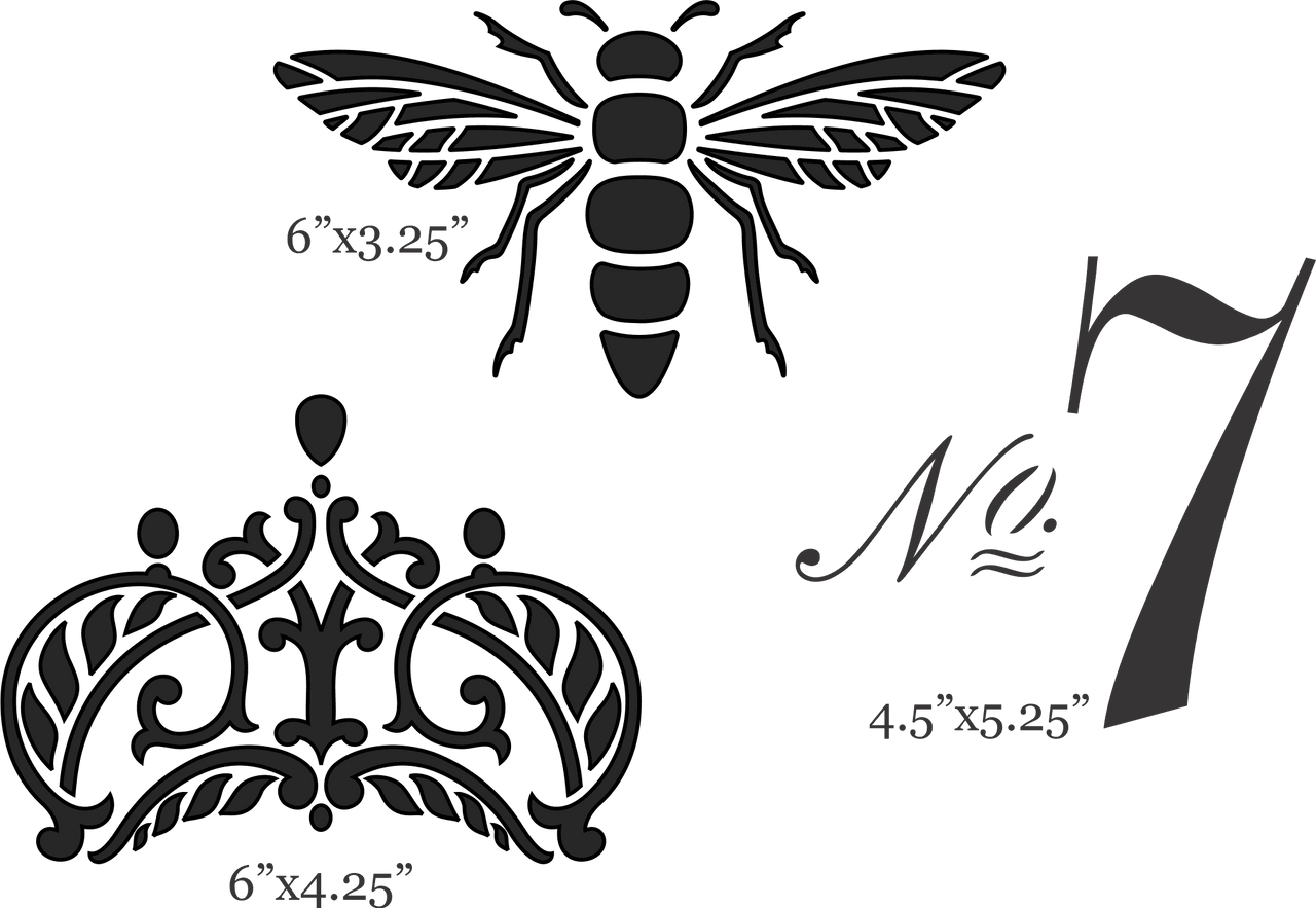 Three furniture stencils. Bee stencil. Crown Stencil. No. 7 Stencil.