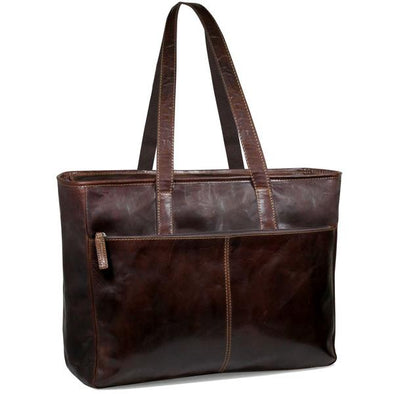 brown leather business tote bag