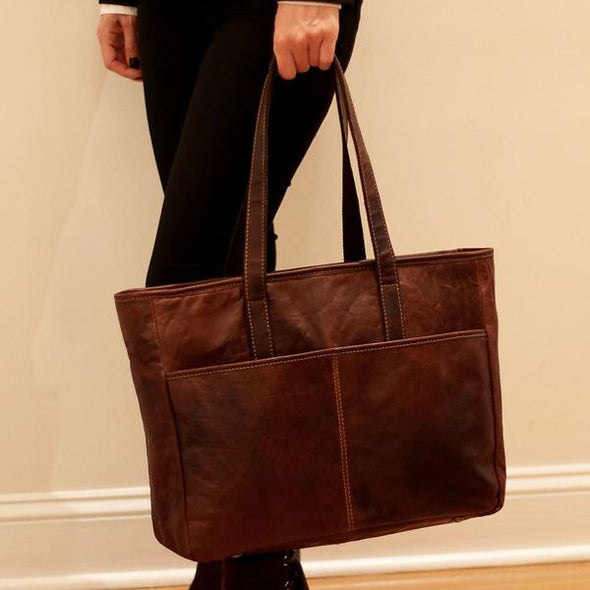 voyager leather tote bag