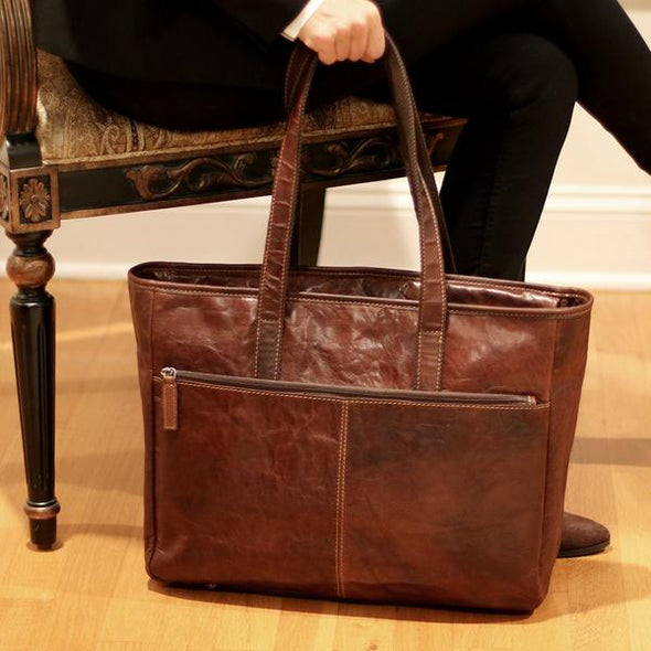 handmade construction, genuine leather business tote