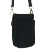 black crossbody beverage, wallet and accessory carrier