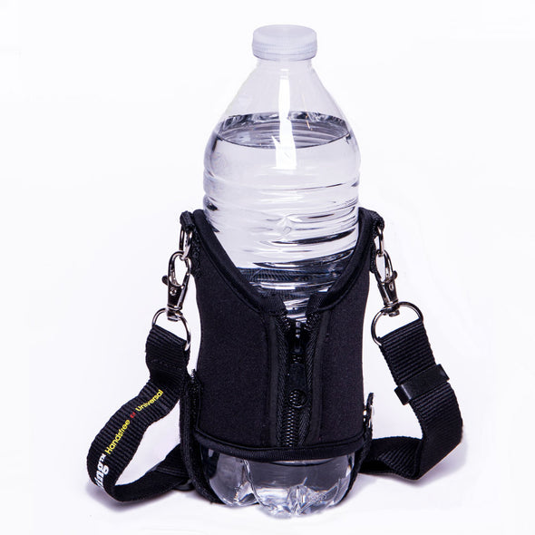 original drink sling in black with expandable zipper for larger beverages