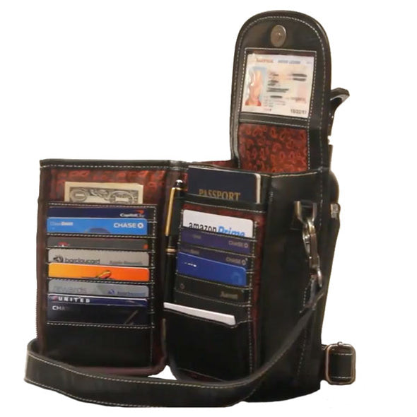 black crossbody wallet leather bag