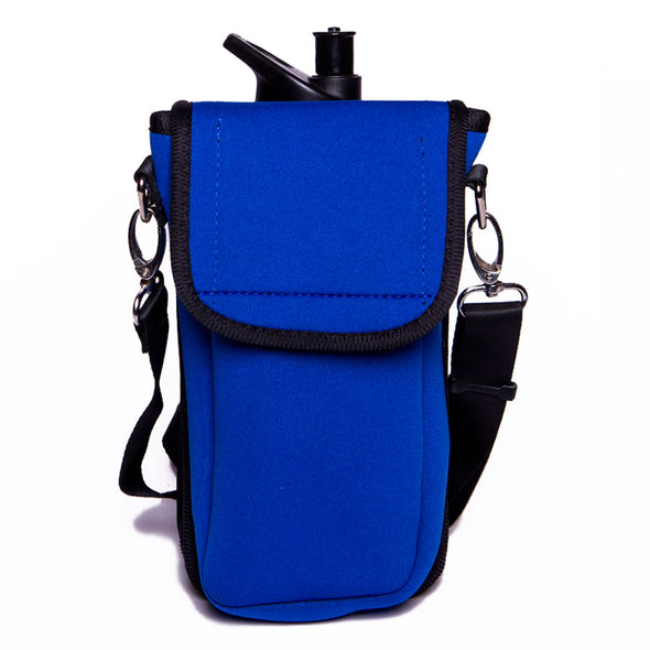 blue weatherproof beverage holder with crossbody strap