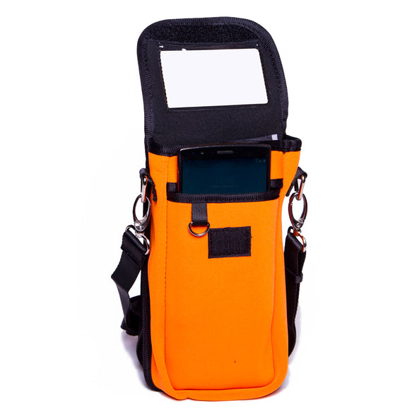 orange id holder for walking, hiking or traveling