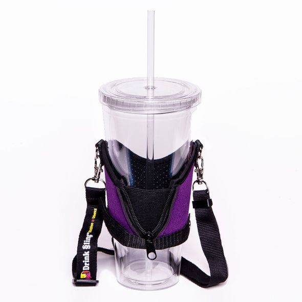 drink sling beverage holder with expandable zipper for multiple size beverages