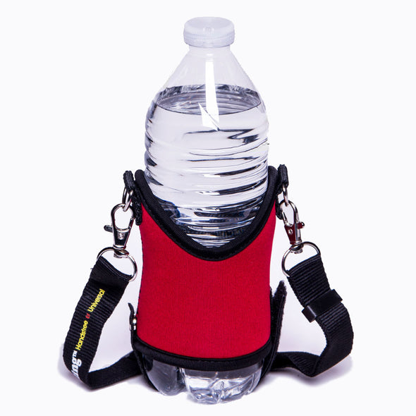 red water bottle and beverage holder for drinks