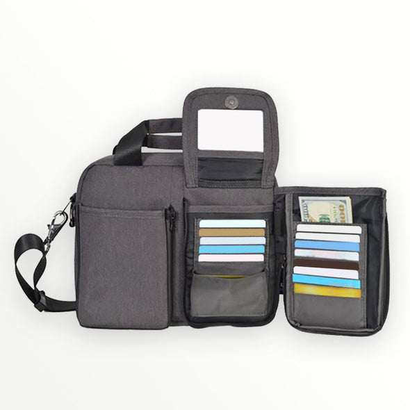 kangalife messenger bag with built in RFID wallet