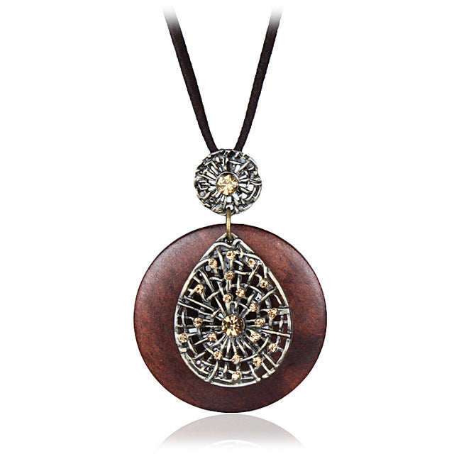 vintage design bae wing artistic women geometry bohemia snake yuk wood new chain necklace geometric products pendant tak multicolor geometrynecklace for