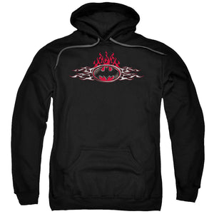 Batman - Steel Flames Logo Adult Pull Over Hoodie