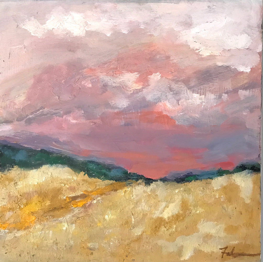"Red Skies 12"" x 12"", SOLD, Beauregard Fine Art"