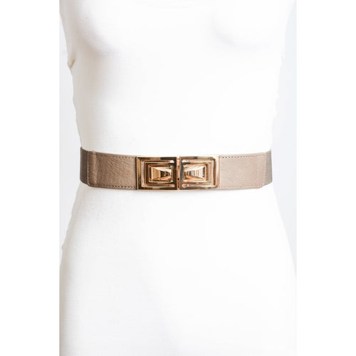 Geometric Gold Metal Elastic Belt