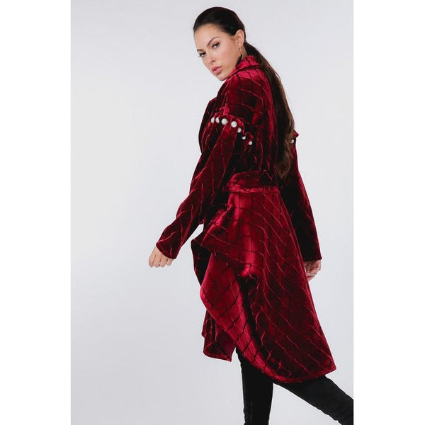 Adelaide Velvet Puff Sleeve Coat-Splurge Collection