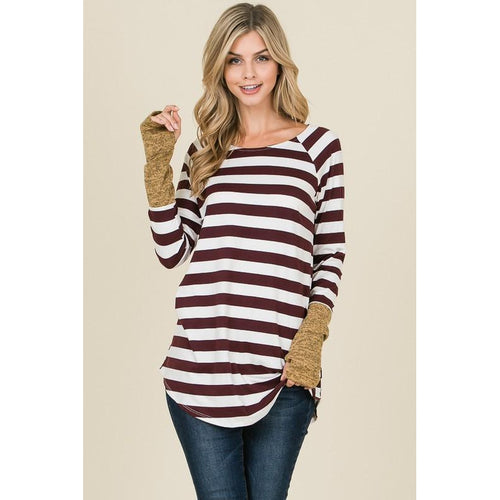 Ann Striped Hand Warmer Top