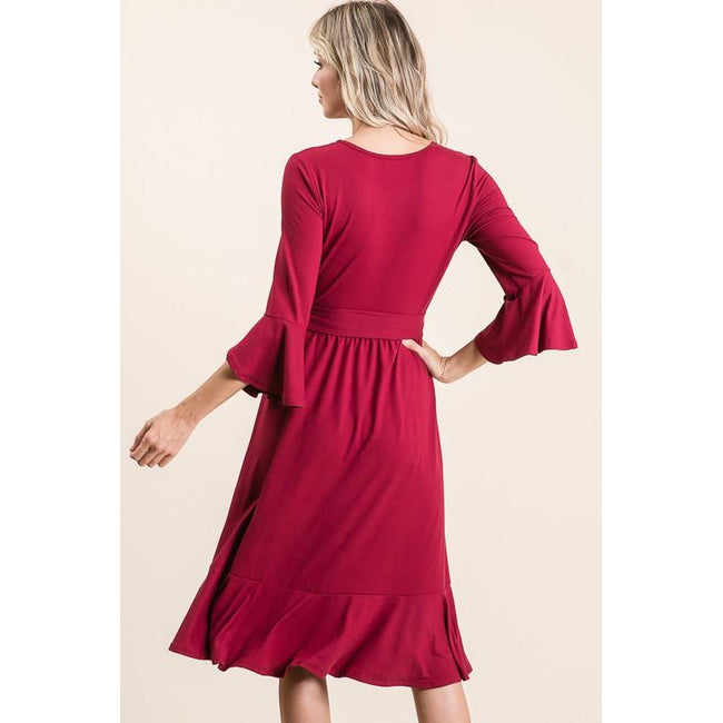 Barb Ruffle Hem Midi Dress