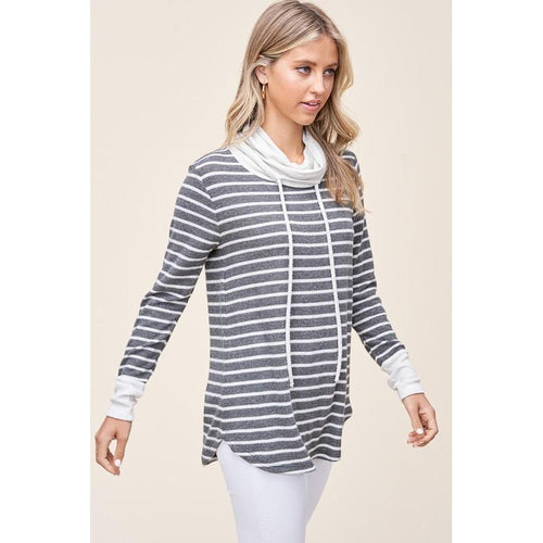 Charlene Striped Cowl Neck Pullover