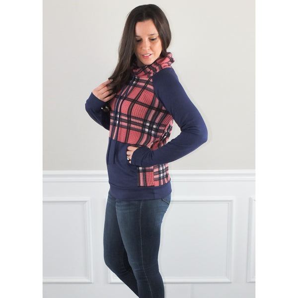 Paula Plaid Cowl Neck Pullover