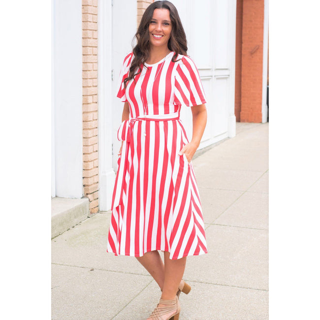 Kathy Striped Midi Dress