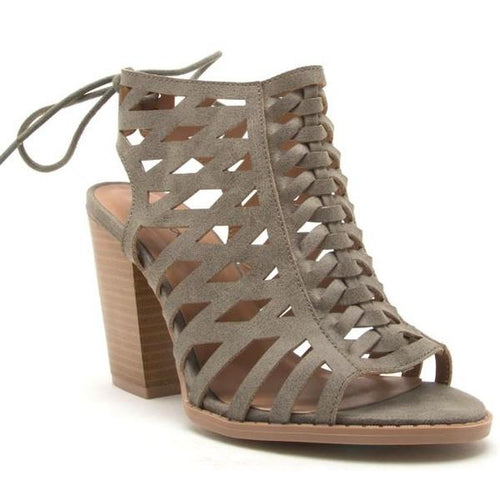 Dulce Caged Cut Out Tie Booties