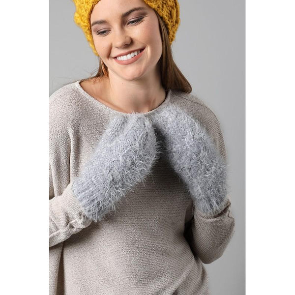 Eyelash Cable Knit Mittens