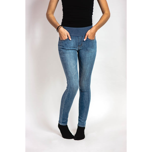 Camilla Stretch Panel Jeggings-Light Blue