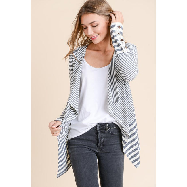 Annie Striped Cardigan with Button Detail