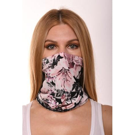 Pink and Black Floral Scarf Mask