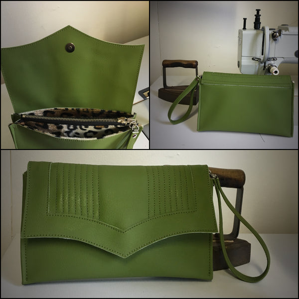 PRE-ORDER! Clutch Bag With Mercury Style Pleating - Tiki Green / Leopard Lining