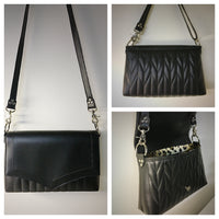 Saddle Bag with Firebird Pleating - Black with Leopard Lining and Cross Body Strap