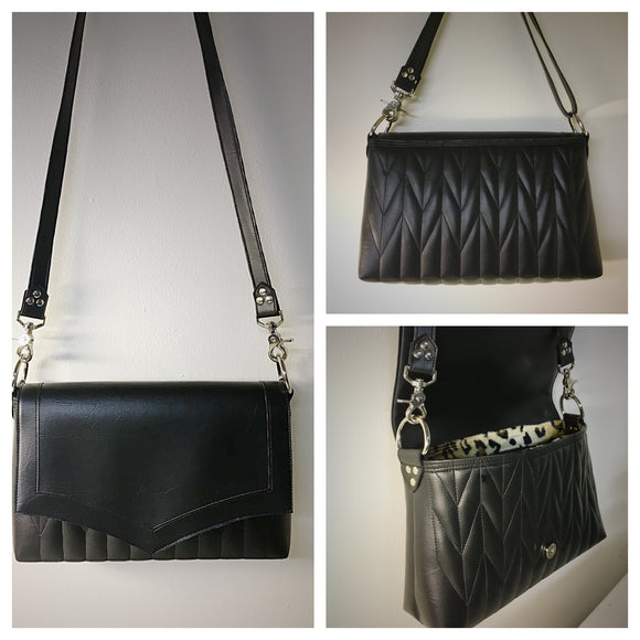 Saddle Bag with Firebird Pleating - Pebble Black with Leopard Lining and Cross Body Strap
