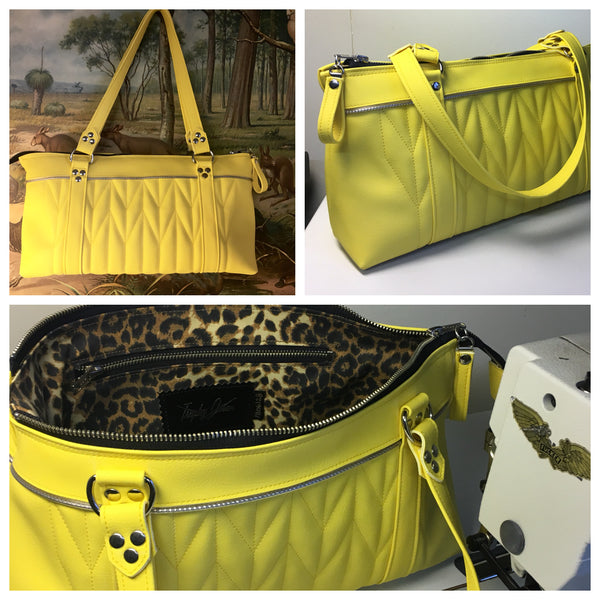 PRE-ORDER! Zipper Shoulder Bag with Firebird Pleating - Lemonade / Leopard Lining