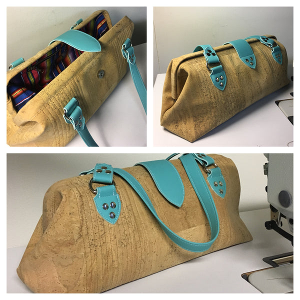 Small City Bag with Mercury Style Pleating - Natural Cork / Turquoise Trim - Fiesta Print Lining **Price Includes Shipping From Sweden**